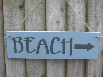 Beach direction blue Wooden Beach and Seaside signs - Large Image
