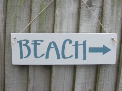 Beach direction white Wooden Beach and Seaside signs - Large Image
