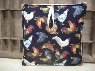 Chickens on black Fabric  - Large Image