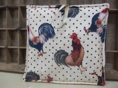 Dotty Rooster Fabric  - Large Image