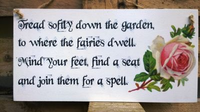 Fairies in the garden Wooden Signs for your Home - Large Image