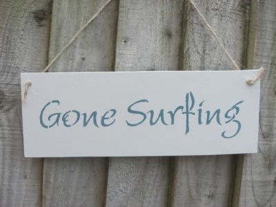 Gone surfing white Wooden Beach and Seaside signs - Large Image