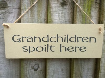 Grandchildren spoilt here Wooden Friends and Family signs - Large Image