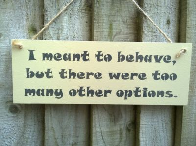 I meant to behave Wooden Humorous Signs - Large Image