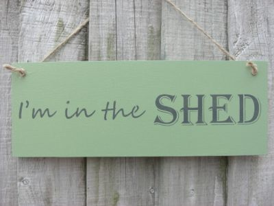 Im in the shed Wooden Garden signs - Large Image
