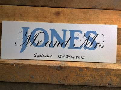 Personalised Wedding or Anniversary sign Wooden Love and Marriage - Large Image