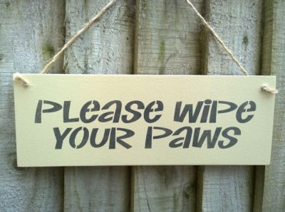 Please wipe your paws Wooden Signs for your Home - Large Image