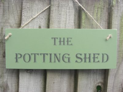 The Potting Shed Wooden Garden signs - Large Image
